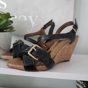 3/$30 Black and gold strappy wedges